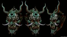 A practice piece that turned out okish Based on many oni mask refs but mainly took a lot of inspiration from the oni mask that the talented Chun Lo made Japanese Tattoo Art, Japanese Art, Japanese Demon Mask, Oni Mask Tattoo, Oni Demon, Character Art, Character Design, Knee Tattoo, Mask Painting