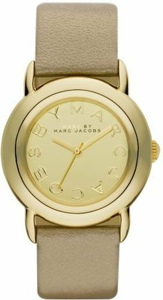 """Marc Jacobs Marci Gold Tone Mirror Dial Women's Watch MBM1182 Marc by Marc Jacobs. $160.00. Gold leather strap, 18mm wide (0.7). Round ion-plated stainless steel case, 33mm (1.3""""). Second hand. Water resistant to 5 ATM. Quartz movement"""