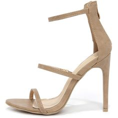 Three Love Nude Dress Sandals (285 NOK) ❤ liked on Polyvore featuring shoes, sandals, brown, peep toe sandals, strappy high heel sandals, high heel shoes, strap sandals and dress sandals