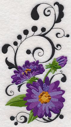 """Fanciful Aster FlowerProduct ID:M8665 Size:3.76""""(w) x 6.85""""(h) (95.4 x 174 mm)Color Changes:18 Stitches:27767Colors Used:8 Product Comments:"""