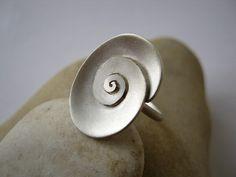 Oval Spiral RingSterling silver Handmade by metalmorphoz on Etsy
