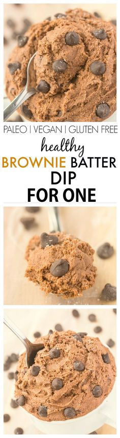 Healthy Brownie Batter Dip for ONE-Smooth, creamy and ready in five minutes, there is NO butter, white flour, sugar or oil but doesn't taste 'healthy'! {paleo, vegan, gluten free}