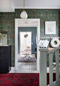Hallway with William Morris wallpaper in a beautiful Swedish house dating back to the William Morris Wallpaper, Morris Wallpapers, Wallpaper Azul, Pattern Wallpaper, Wallpaper Quotes, Oval Room Blue, 1920s House, Rustic Wood Walls, Swedish House