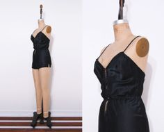 1970s black Barbizon teddy / Vintage 70s bodysuit by Ainshent, $39.00