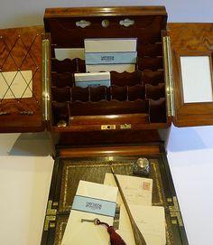 English Victorian Stationery / Writing Box In Burr Walnut c.1890 - Writing Slope