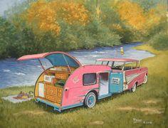 Paige Bridges Vintage Travel Trailer Art teardrop tear drop fly fishing fisherman 1957 Chevy Bel Aire Nomad station wagon breast cancer awareness Beaver\'s Bend OK
