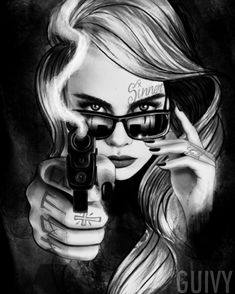 Tattoo design available #guivy #guivyhellcat #tattoo #geneva #gva #geneve #artforsinners #tatouage #inkedgirl #girltattoo #tatoueur #lausanne #paris #losangeles #portrait #gun #armed #9mm #tattooflash #drawing #ipad #ipadpro #dangerous #woman #chicano