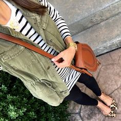 Work Outfits Women Office: IG MrsCasual Stripe Tunic Tee, Utility vest, The Cutest Leopard Flats - Vest Outfits, Casual Outfits, Cute Outfits, Army Vest Outfit, Work Outfits, Poncho Outfit, Fall Winter Outfits, Autumn Winter Fashion, Fall Fashion