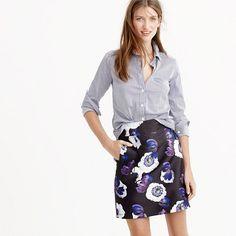 "Our new favorite mini skirt for fall has a higher rise, a slight kick and...pockets! Constructed in a weightier fabric (that holds its shape beautifully) with an eye-catching floral print, this is the skirt to wear to all the holiday parties on your agenda. <ul><li>Sits at waist.</li><li>18 1/2"" long.</li><li>Falls above knee.</li><li>Poly.</li><li>Back zip.</li><li>Lined.</li><li>Dry clean.</li><li>Import.</li></ul>"