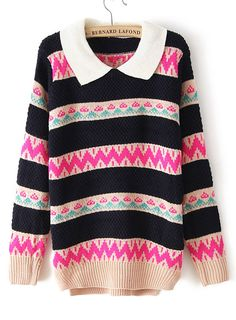 Pink Lapel Long Sleeve Striped Pullover Sweater US$31.80