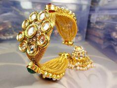 INDIAN BOLLYWOOD GOLD PLATED KUNDAN BRIDAL PEARL POLKI BRACELET BANGLES KADA SET #Handmade #Bangle