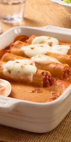 Heute kommt das Essen direkt aus dem Ofen. Köstliche Hackfleisch-Cannelloni mit Käse überbacken. Für den großen Hunger optimal.