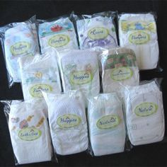 """The Diaper Dabbler"". Pretty cool gift for new moms to try out one of each brand of diaper to choose their fav! I'm a pampers mommy all the way!"