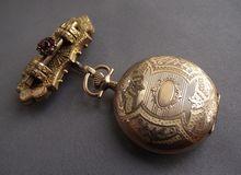 Extraordinary Victorian Watch Chatelaine Pin, Bohemian Garnets! Old Pocket Watches, Atticus, Steampunk Fashion, Clocks, Color Change, Garnet, Bohemian, Victorian, Stone
