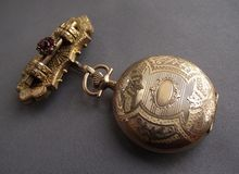 Extraordinary Victorian Watch Chatelaine Pin, Bohemian Garnets!