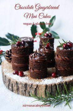 Chocolate Gingerbread Mini Cakes (vegan & gluten-free) – New Cake Ideas Best Chocolate Cake, Vegan Chocolate, Dessert Chocolate, Chocolate Orange, Chocolate Ganache Frosting, Sugared Cranberries, Cake Ingredients, Sans Gluten, Mini Cakes