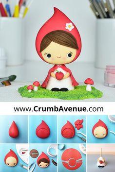 FREE tutorial - Little Red Riding Hood Cake Topper /fondant, gum paste, cute, girl