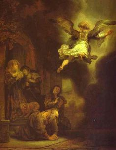 The Archangel Leaving the Family of Tobias, Oil by Rembrandt Van Rijn (1606-1669, Netherlands)