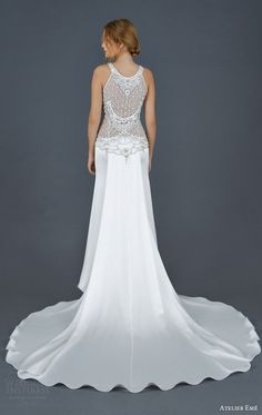 atelier eme 2016 bridal livia sleeveless wedding dress beaded bodice back view train
