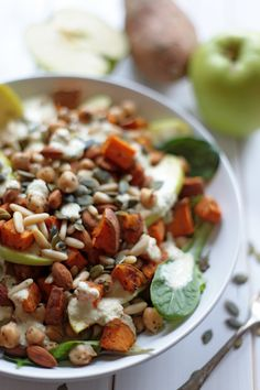 Sweet Potato, Chickpea, & Apple Salad with Miso Dressing