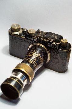 Leica II black paint with Rare Leitz Elmar Berg Mountain nickel 10.5cm 6.3