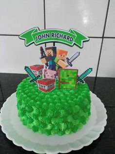 Topo de Bolo Minecraft - modelos de tags para imprimir - Mimo Kids Pastel Minecraft, Bolo Minecraft, Minecraft Party Decorations, Boy Birthday, Birthday Cake, Cake Toppers, Desserts, Vintage Cakes, Food