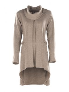 Beige Mélange Cowl Neck Jersey Tunic from Citra Style