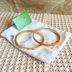 """EUC X2 KATE SPADE BANGLE BRACELET SET ORNG STRIPE Kate spade bangle set. Multi colored gold bangle is flawless. The orange and gold bangle has some light tarnish on the side as pictured. For small wrists 2 1/2"""" Gold plated. Retail $48 & $38. Comes with Kate spade bag.NO TRADES OR QUESTION COMMENTS FROM NON SERIOUS BUYERSDO NOT BUNDLE UNLESS YOU INTEND TO BUYDO NOT LOWBALL & NO PRICE COMMENTSPRICE IS REFLECTED ON PM FEES AND HOW MUCH I PAID kate spade Jewelry Bracelets"""