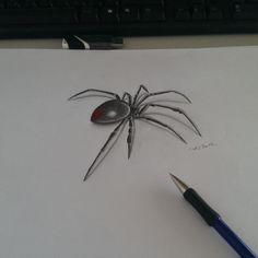 Small And Simple Black Widow Spider Tattoo Design Stencil