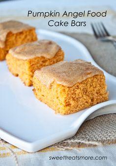 Pumpkin Angel Food Cake Bars : Ingredients 1 box Angel Food Cake Mix 1 (16oz) canned pumpkin 1 tsp. pumpkin pie spice 3/4 cup sifted powdered sugar 1 1/2 tbsp. hot water 1 tsp. vanilla extract 1/4 tsp. pumpkin pie spice