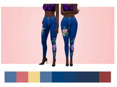 """Patches Jeans """"Floral"""" by cakenoodles via tumblr   Female - Clothes - Skinny Pants   BGC   Sims 4   TS4   Maxis Match   MM   CC   Pin by sueladysims  """