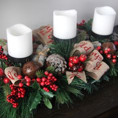 Makes a beautiful tablescape. Christmas Displays, Christmas Greenery, Christmas Wreaths, Christmas Decorations, Holiday Decor, Farmhouse Bowls, Christmas Candle Holders, How To Become Rich, Proposal
