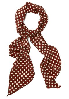 Levity Is Up to Me Scarf in Mahogany. You know the importance of positivity, and one way you stay so lighthearted is by wearing effervescent accessories like this polka-dot scarf! #red #modcloth