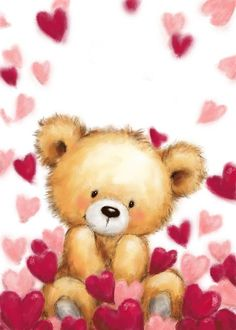 Teddy Bear Images, Teddy Bear Pictures, Teddy Bear Cartoon, Cute Images, Cute Pictures, Valentines Day Drawing, Bear Drawing, Love Bear, Tatty Teddy