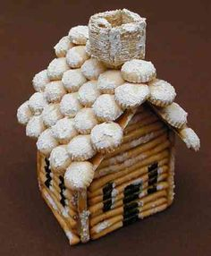 Pretzel Log Cabin - love the shredded wheat chimney!