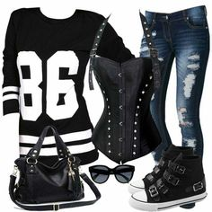 Long sleeve T, Corset, jeans what more can you ask for.