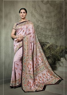 Dusty Pink Tussar silk saree with dusty pink Tussar silk blouse embellished with digital print. Saree with Boat Neck, Short Sleeve. It comes with unstitch blouse, it can be stitched to 32 to 58 sizes. Indian Designer Sarees, Designer Sarees Online, Tussar Silk Saree, Art Silk Sarees, Ethnic Sarees, Trendy Sarees, Casual Saree, Indian Ethnic Wear, Indian Style