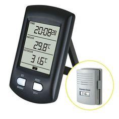 Funções  - Relógio; - Temperatura interna; - Temperatura externa; - Registro da temperatura Mínimo e Máximo; - Formato 12/24 horas; - Pode receber até 3 sensores; Especificações - Temperatura interna: 0ºC até +60ºC; - Temperatura externa: -40ºC Até +65ºC; - Variação da temperatura: +/-1.0ºC; - Receptor funciona com 2 pilhas alcalinas AA (LR6);  - Emissor funciona com 2 pilhas alcalinas AAA (LR03); - Vida da pilhas: Mínimo 24 meses do receptor;