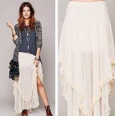 Free People Spanish Court Maxi Slip Skirt Lace Ruffles Swiss Dot Mesh Ivory S #FreePeople #Maxi
