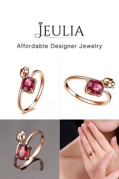 #Jeulia JEULIA Rose Gold Tone Rose Design Created Garnet Women's Adjusta. Discover more stunning Fashion Rings from Jeulia.com. Shop Now!