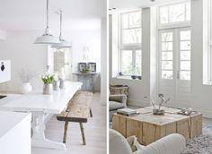 intérieur blanc et bois brut idée décoration design salle à manger salon style scandinave nordique industriel inspiration
