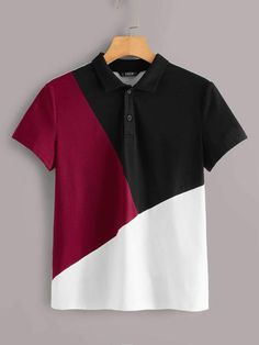 Cut-and-sew Polo Shirt , Half Shirts, Cut Shirts, Boys T Shirts, Printed Shirts, Camisa Polo, Shirt Logo Design, Shirt Designs, African Wear Styles For Men, Polo Shirt Outfits