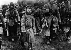 Russian prisoners of war after their defeat and subsequent capture at Masurian Lakes in East Prussia, 1915.