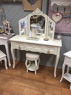 Unbranded Bedroom Country Dressing Tables with Stool Dressing Table With Stool, Round Stool, Autumn Home, French Vintage, I Shop, Shabby Chic, Cream, Mirror, House
