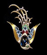 TRIFARI 'Alfred Philippe' Sterling Simulated Sapphire, Blue Topaz, Ruby, Diamante 'Lyre Bird' Pin