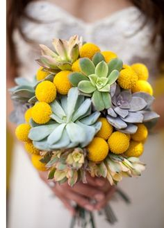 Seasonal Wedding Ideas: Rustic Yellow Billy Ball and Green Succulent Wedding Bouquet
