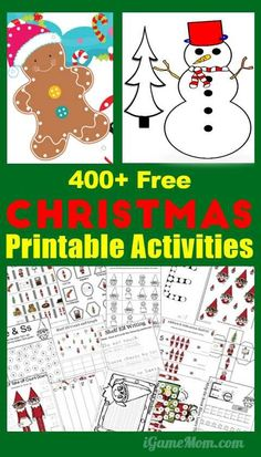FREE Christmas printable activities games worksheets for kids from preschool kindergarten to school age: Coloring pages, games, numbers, math, alphabet, sight words, … Fun and easy holiday activities for classroom party or family gathering.