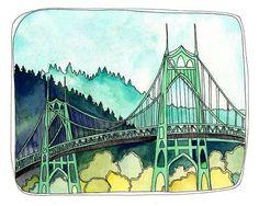 Art Print  Art Print Watercolor  Portland Illustration