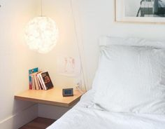 DIY bedside industrial pulley lamp wth clothesline