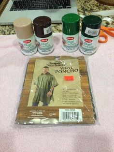 All you need for this tutorial are four spray paint colors from your local hardware store and one poncho. You can find these anywhere. I got mine at the Ranger surplus store.